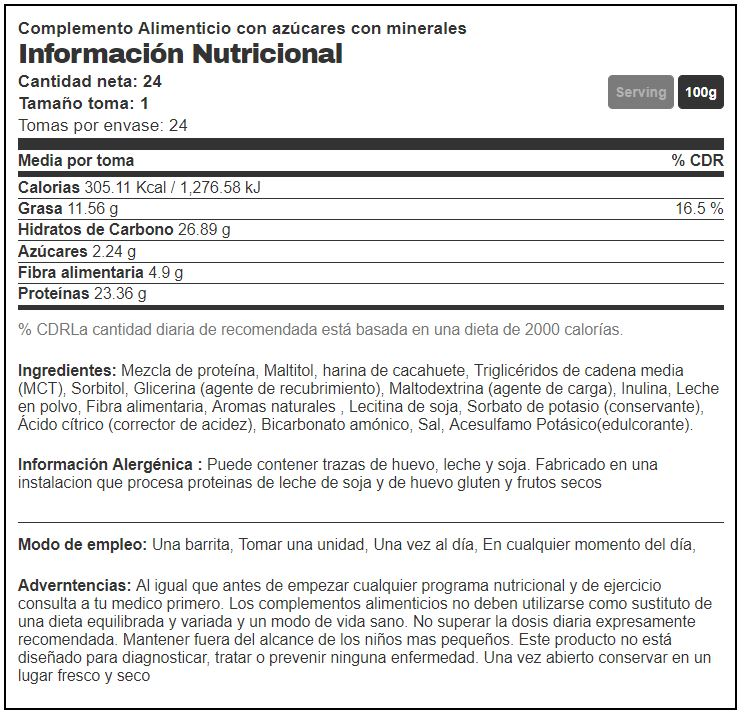 info nutricional chocolate chip